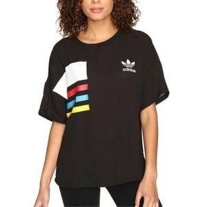 Adidas Chiffon Boxy Tee Size L Black Sheer